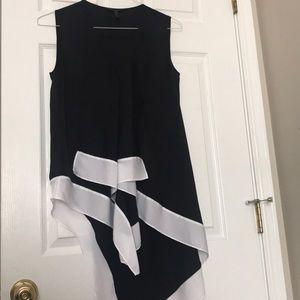 Black Asymmetrical Sleeveless Blouse